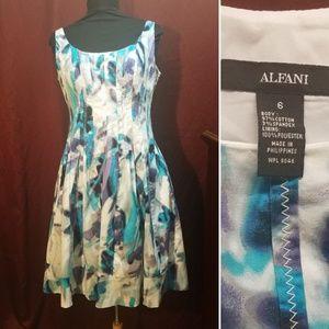 ALFANI dress size 6 floral print white purple blue